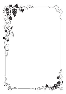 Decorative rectangular frame with bunch of grapes, grape leaves, vines, swirls. A4 page proportions.
