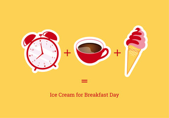 Ice Cream for Breakfast Day vector. Vector illustration of a holiday breakfast. Important day