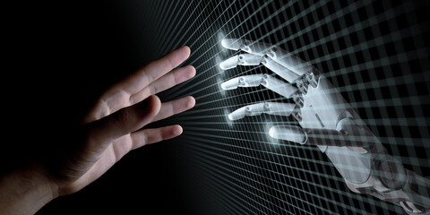 Hands of Robot and Human Touching. Artificial Intelligence Concept 3d Illustration