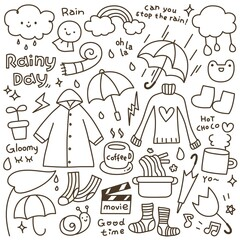 Set of Cute Rainy Day Doodle