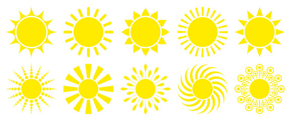 10 Yellow Sun Icons Graphic