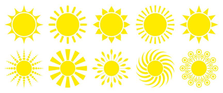 10 Yellow Sun Icons Graphic