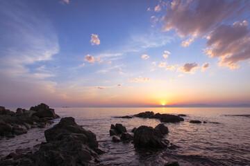 Sea landscape at sunset.