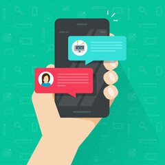 Person chatting with chatbot in mobile phone vector illustration, flat cartoon smartphone with chat bot discussion, cellphone messenger with chatbot service, communication technology