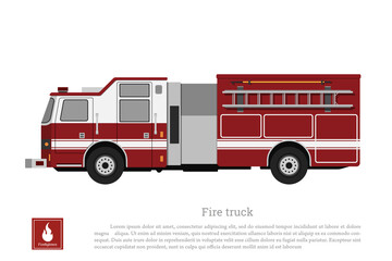 Red fire truck in a flat style on a white background. Car of fire department