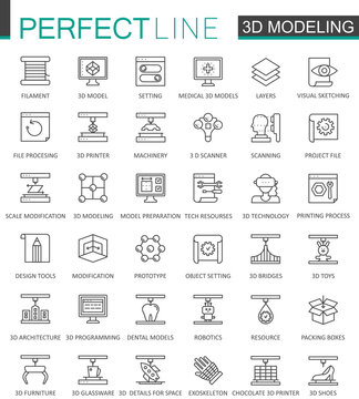 3d modeling and printing thin line web icons set. Outline stroke icons design.