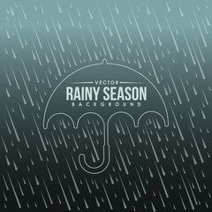 Rainy season background and umbrella border line tag vector design