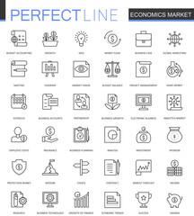 Economics market thin line web icons set. Outline stroke icons design.