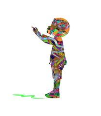 illustrazione di bambino che indica