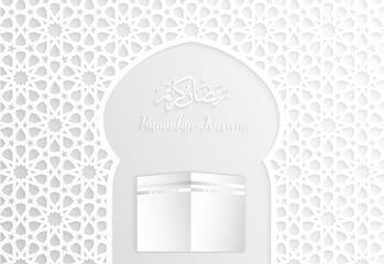 ramadan backgrounds vector,Ramadan kareem with kaaba and arabic pattern white background