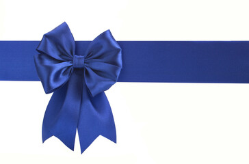 Blue bow on a blue ribbon on a white background