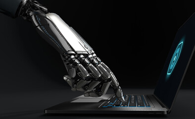 A Robot working with laptop