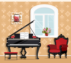 Cute fashionable living room with piano, armchair, window, flowerpot, little chair. Stylish graphic room set. Flat style room interior. Vector illustration.
