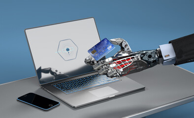 A robot doing online shopping with a credit card