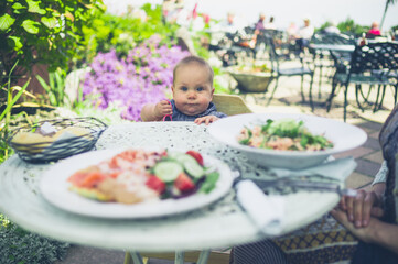 Baby at table looking at food