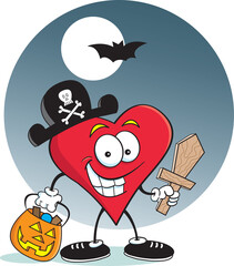 Cartoon illustration of a heart dressed as a pirate with a background.