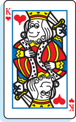 Cartoon illustration of a king of hearts playing card.