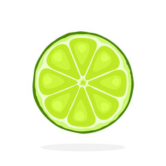 Vector illustration in flat style. Slice of lime. Healthy vegetarian food. Citrus fruits. Decoration for greeting cards, prints for clothes, posters, menus