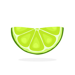 Vector illustration in flat style. Half lime slices. Healthy vegetarian food. Citrus fruits. Decoration for greeting cards, prints for clothes, posters, menus