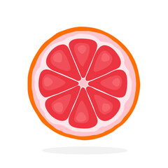 Vector illustration in flat style. Slice of grapefruit. Healthy vegetarian food. Citrus fruits. Decoration for greeting cards, prints for clothes, posters, menus