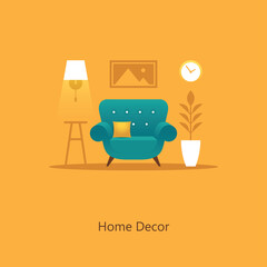 Living room illustration with armchair in flat style