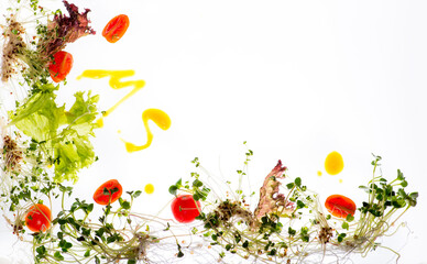 Salad on an enlightening table. White background