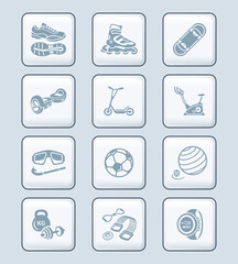 Summer fitness icons || TECH series