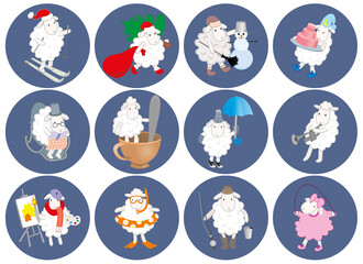 set of round stickers with a picture of a sheep. vector graphics