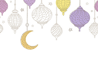 Ramadan lamps graphic moon star seamless color background illustration vector