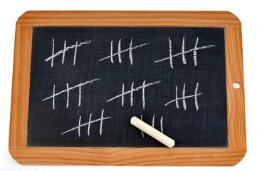 Ardoise avec des bâtons barrés pour compter