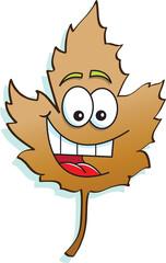 Cartoon illustration of a happy leaf.