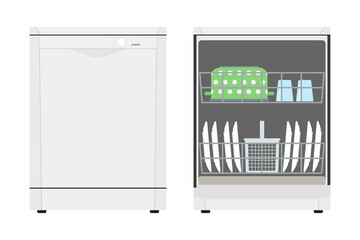 Flat icon closed dishwasher and opened dishwasher with dishes. Vector illustration.