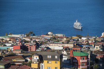 Chilean navy boat anchored in Valparaiso
