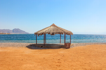 Cottage in a Camp in Sinai, Taba desert with the Background of the Sea and Mountains.