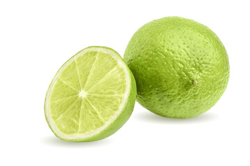 lime fruit and half isolated