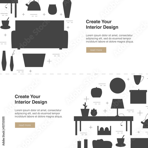 Interior Design Vector Web Banner Modern Home Design Template With