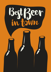 vector banner with three bottles and inscription best beer in town in retro style