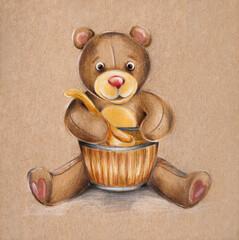 Pencil drawing of a bear
