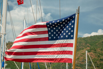 American flag fluttering