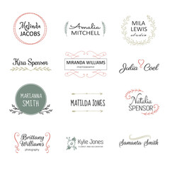 Handdrawn elements for logo design. Premade logo templates. Floral logotypes