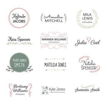 Handdrawn elements for logo design. Premade logo templates. Floral logotypes