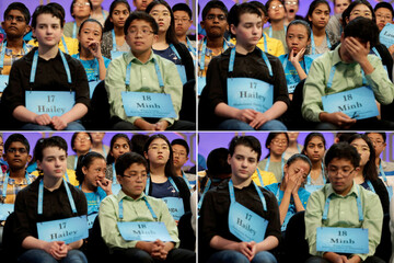 A combination picture shows Avril Regis, 14, of Pago Pago, American Samoa, watching competitors during the 2017 Scripps National Spelling Bee at National Harbor in Oxon Hill, Maryland