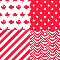 Set of Canadian themed Patterns. Collection of 4 Canadian patriotic seamless patterns in red and white.