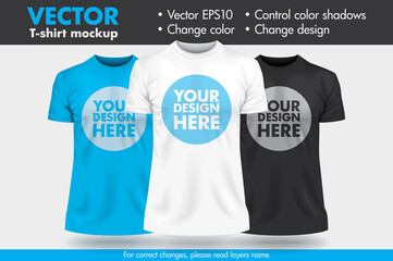 Replace Design/Pattern with your Design, Change Colors Mock-up T shirt Template