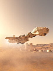Space Shuttle Making a Dusty Landing at Mars Colonial Outpost Town - science fiction illustration