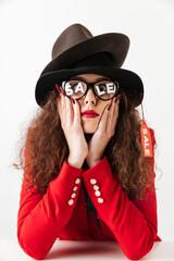 Stylish shopaholic woman wearing bright clothes
