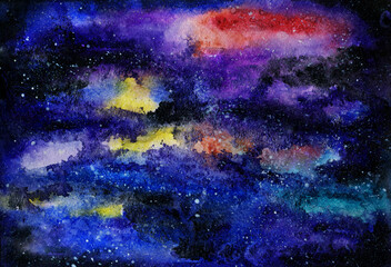 watercolor sketch of night sky with stars