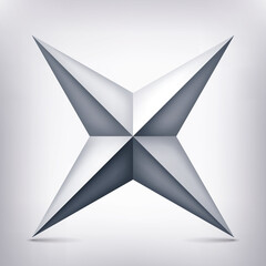 Volume four-pointed gray star, 3d object, geometry shape, mesh version, abstract vector