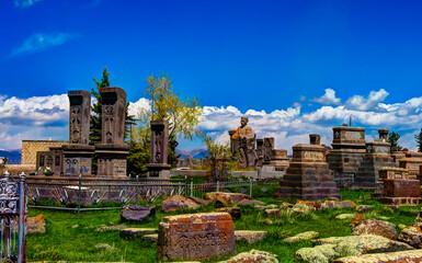 Stone slabs aka khachkar in Noratus cemetery, Armenia