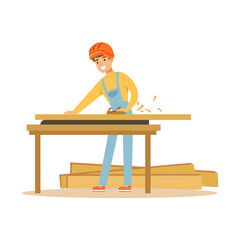 Young carpenter man working with wood in his workshop, professional wood jointer character vector Illustration